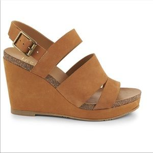 Franco Sarto Fiona Leather Cork Wrapped Wedges